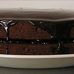 Chocolate  Cake Dripping With Chocolate Sauce recipe