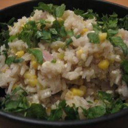 White Rice Pilaf With Corn, Roasted Chiles and Fresh Cheese recipe