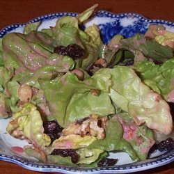 Lettuce, Raisin and Walnut Salad With Creamy Raspberry Dressing recipe