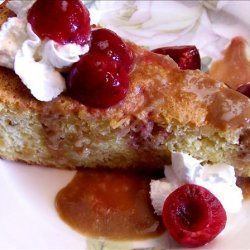 Pine Nut Cake With Poached Cherries and Caramel Sauce recipe