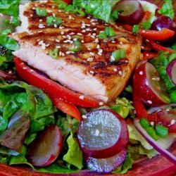 Seared Salmon With Grapes on a Bed of Greens recipe