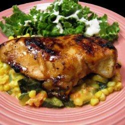 Pepper Jelly Glazed Chicken With Corn and Zucchini recipe