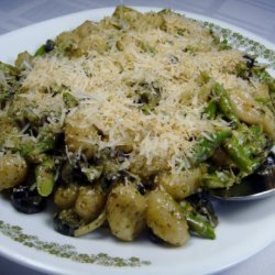 Gnocchi With Asparagus & Olives in a Creamy Pesto Sauce recipe