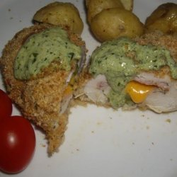 Stuffed Chicken Breasts with Pesto Cream Sauce recipe