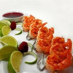 Butterfly Chili Lime Prawn Spedini with Raspberry Dipping Sauce recipe