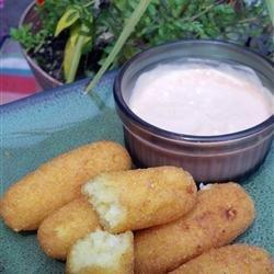 Deep Fried Corn Meal Sticks (Sorullitos de Maiz) with Dipping Sauce recipe