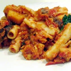 Rigatoni with Eggplant, Mushrooms and Goat Cheese recipe