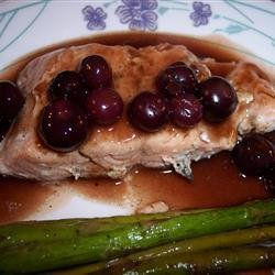 Grilled Salmon Steaks with Savory Blueberry Sauce recipe