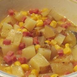 Corny Ham and Potato Scallop recipe