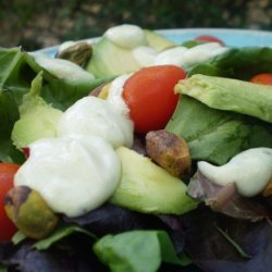 Spring Lettuces With Avocado Dressing and Pistachios recipe