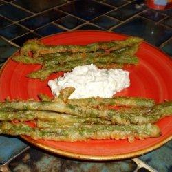 German Fried Asparagus With Herb Cream recipe