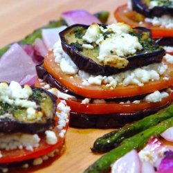 Grilled Eggplant Stacks With Goat Cheese, Tomato and Basil Sauce recipe