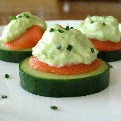 Cucumber Slices With Smoked Salmon and Avocado Cream recipe