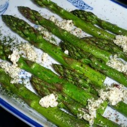 Roasted Asparagus Sprinkled With Feta, Olive Oil and Dill recipe