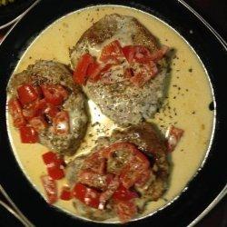 Pork Chops With Roasted Red Pepper Cream recipe