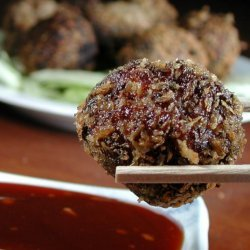 Panko Crusted Meatballs Wrapped in Lettuce Cups recipe