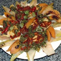Warm Halloumi Salad With Chilli Dressing recipe