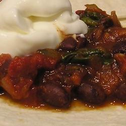 Tomato Spinach and Bean Burrito recipe