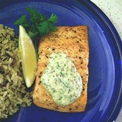 Grilled Salmon Fillets with a Lemon, Tarragon, and Garlic Sauce recipe