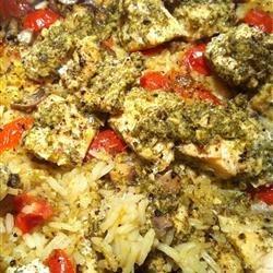 Salmon and Pesto with Rice recipe