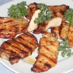 Grilled Pork Steaks with Lemon Butter Sauce recipe
