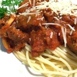 Spaghetti with Tomato and Sausage Sauce recipe