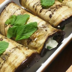 Grilled Aubergine With Feta and Mint Bundles recipe