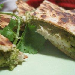 Chicken Quesadillas With Poblano Pesto recipe