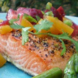 Salmon or Halibut With Fruit Salsa recipe