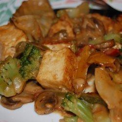 Spicy Stir Fry Tofu With Peanut Sauce W/ Snow Peas and Mushrooms recipe