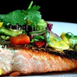 Salmon With Coriander/Cilantro Mango Salsa recipe