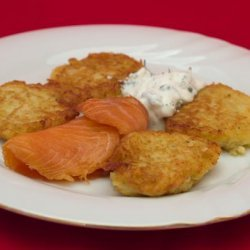 Parsnip Pancakes With Smoked Fish and Caper Sour Cream recipe
