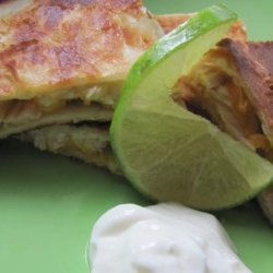 Pepper Jack, Chicken and Peach Quesadillas recipe