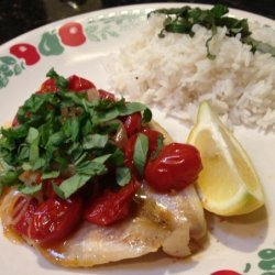 Poached Halibut With Tomato and Basil recipe