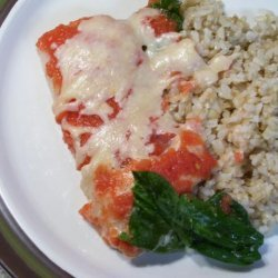 Baked Fish With Spinach and Tomatoes recipe