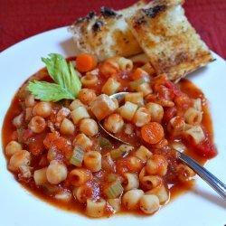 Chicken, Pasta, and Chickpea Stew recipe