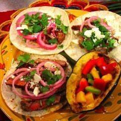 Adobo Beef Tacos With Pickled Red Onions recipe