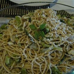 Spaghetti with Broccoli and Mushrooms recipe