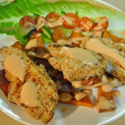 Crumbed Chicken & Roast Sweet Potato Salad recipe