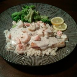 Tilapia With a Creamy Shrimp & Crab White Wine Sauce recipe