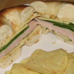Turkey Hummus Sandwiches on Bagels recipe