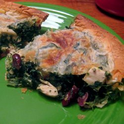 Chicken, Spinach and Dried Cranberry Phyllo Pie recipe