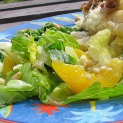 Mixed Green Salad With Fresh Peaches, Basil and Chevre recipe