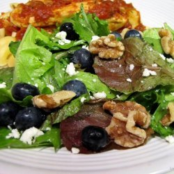 Simple Greens and Fruit Salad With Gorgonzola Cheese recipe
