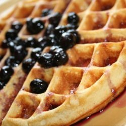 Lemon Belgian Waffles With Berry Syrup recipe