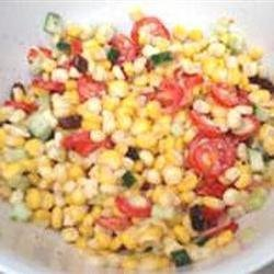 Creamy Cherry Tomato Salad with Fresh Basil, Corn and Onion recipe