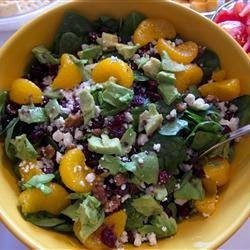 Cranberry, Glazed Walnut, Orange, Avocado, and Blue Cheese Salad recipe
