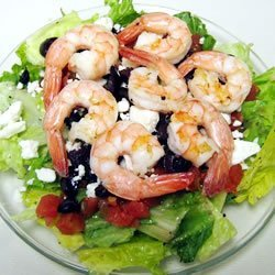 Greek-Style Shrimp Salad on a Bed of Baby Spinach recipe
