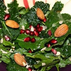 Kale Salad with Pomegranate, Sunflower Seeds and Sliced Almonds recipe