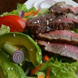 Grilled Steak Salad with Asian Dressing recipe